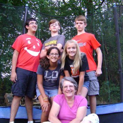 On trampoline with grandchildren
